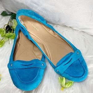 Arturo Chiang Turquoise leather suede ballet flat